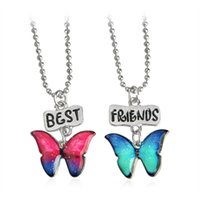 Wholesale gold butterfly pendant necklace - Exquisite 2cm BBF Best Friends Butterfly Resin Cartoon Necklaces Pendants with 41+7cm Chain Kids Girls Boys Chokers 2pcs lot
