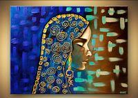frau porträt ölgemälde großhandel-100% handgemachte ölgemälde auf leinwand frau porträt leinwand kunst palette messer schwere textur ölgemälde kunst gemälde großhandel decorat