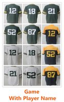 Wholesale New 52 - 2018 New Men Wholesale Cheap Game football jerseys 18 Randall Cobb 21 Ha Ha Clinton-Dix 87 Jordy Nelson 52 Clay Matthews Stitched Jerseys