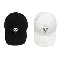 Wholesale panda hat men resale online - 15PCS Panda Embroidery Vintage Baseball Cap Pure Cotton Soft Cap Men Women Snapback Hat colors