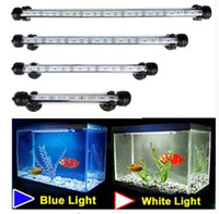 fisch-tank aquarien led-leuchten großhandel-Aquarium 9/12/15/21 LED hellblau / weiß 18/28/38 / 48CM Stab-versenkbare wasserdichte Klipp-Lampen-Dekor EU-Stecker