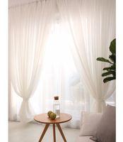 paneles transparentes blancos al por mayor-Panel de cortinas transparentes de lino blanco listo para hacer 1.5M 2 M juego de cortinas para ventanas para uso en la decoración del hogar
