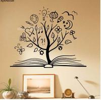 ingrosso murales uniche-Libro Albero Adesivo Scuola Scuola Adesivo in vinile Unico Home Art Decor Sala lettura Decorazione Murales rimovibili Camere bambini SK13
