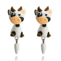 ingrosso orecchino polimerico fatto a mano-Carino Moda Individualità Animale Polymer Clay Ear Nail Cartoon Cow Orecchini Lovely Cow Morbido Handmade Polymer Clay Cartoon Orecchini D0689
