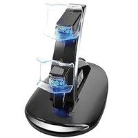 стенд игрового контроллера оптовых-Оптово-LED двойное зарядное Dock крепление USB Подставка для зарядки для PlayStation 4 PS4 Gaming беспроводной контроллер с розничной коробкой 70pcs