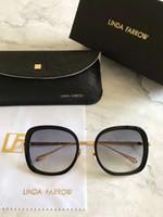 Wholesale Linda Farrow - Linda Farrow LFL605 Square Sunglasses Gold Grey 55MM Fashion Brand Sunglasses Sun Glasses New with Box