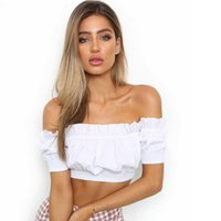 72fab30da1 Summer Off Shoulder Ruffles Shirt Women Crop Top Corset Blouse New Sexy  Blouses and Tops Blusa