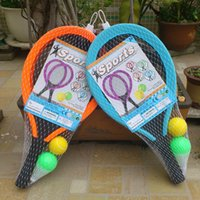 Wholesale free agent - Badminton Racket Children Sports Toys Suit Kindergarten Gift Plastic Outdoor Play Rubber Ball Blow Molding EVA Handle Free Shipping 15tr V