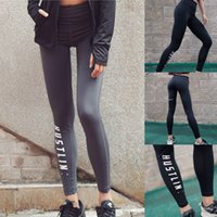 Wholesale yoga pants hips online - New Sports Leggings Yoga Pants Letter Printed Style Women Sexy Hip Push Up Pants Fitness Workout Gym Jogging Trousers
