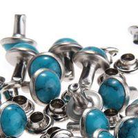 remaches artesanales de cuero al por mayor-Azul turquesa remaches rápidos remaches DIY artesanía de cuero para la bolsa de zapatos pulsera Tandy cuero 8MM / 10MM 100pcs