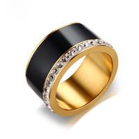ingrosso le pietre nere squillano le donne-11mm Unique Black Diamond Rings per le donne Bling CZ Pietre in acciaio inox elegante fidanzamento anello nuziale femminile gioielli quattro colori