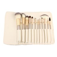 altın deriler fırçalar toptan satış-12 adet Gül altın Makyaj Fırçalar set Vakfı Göz Farı kaş ile profesyonel makyaj fırça Kozmetik Deri Tuvalet Kitleri