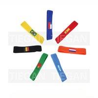 logo kafa bandı toptan satış-2018 Rusya Dünya Kupası saç bandı ülke bayrağı logosu kafa futbol Futbol taraftarları ter bandı hatıra Yoga Hairband Spor spor Headbands