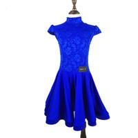vestidos de salsa para niños al por mayor-2018 Latin Dance Dress para niñas de manga corta de encaje Salsa Ballroom vestidos de baile para niños competencia rendimiento rendimiento DN1339