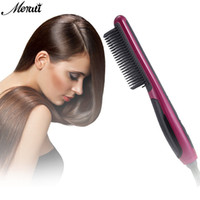 Wholesale digital electric heating online - Pro LCD Heating Electric Ionic Fast Safe Hair Straightener Anti static Ceramic Straightening Brush Comb hair iron ceramic
