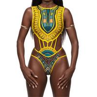 bikini dipleri stilleri toptan satış-ITFABS Yeni Bak BIKINI Afrika baskılı Tribal stil Üst Dipleri Etnik Tasarım beachwear mayo Mayo kadın kadın bikini seti