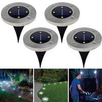 ingrosso decorazione esterna solare della lanterna-Led Outdoor Lawn Buried Lights Solar Powered Disk Light Lanterne portatili Escursionismo Camping Decorazioni da giardino in acciaio inox 9jt WW