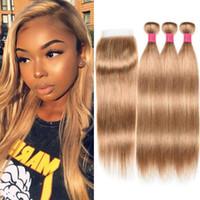 honig blonde erweiterungen großhandel-Blonde brasilianische Echthaar-Bündel mit Verschluss Honey Blonde 27 # Color Straight Hair Extensions 10-24 Zoll Echthaar-Webart mit Verschluss