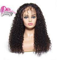 perruques avant en lacet remy achat en gros de-13x3 perruques brésiliennes frisées en dentelle pour femmes avec perruques de cheveux naturels préplissées, couleur naturelle, cheveux remy de 130%, densité 10-24 pouces