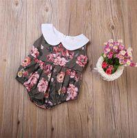ingrosso ragazze di fiori cinesi-Infant Kids Baby Girl Floral Body senza maniche Pagliaccetto Peony Flower cinese Tuta Colletto rotondo Sunsuit Outfit Abbigliamento 0-24 M Abbigliamento per bambini