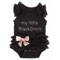 Wholesale Wholesale Little Girl Rompers - Newborn Baby Girls Bodysuits Fashion Embroidered Lace My Little Black Dress Letters Infant Baby Bodysuit Rompers A08