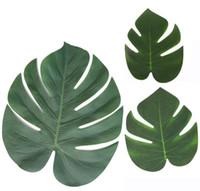 künstliche blattdekorationen großhandel-Grüne tropische Palmblätter Monstera verlässt Simulation künstliches Blatt für Partei-Dschungel-Strand-Thema BBQ-Geburtstagsfeier-Dekorationen