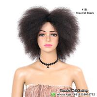 pelucas de pelo negro muy corto al por mayor-Nuevo muy original de Nautral pelo sintético sintético rizado corto Afro pelucas 6 pulgadas naturaleza negro peluca sintética para mujeres negro 90g africano
