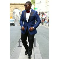 Wholesale men s dinner jackets - Custom Made Mens Blazer Slim Fit Coat Dinner Suit Jacket Formal Casual Jacket One Button Men Suits (Jacket+Pants) Z614