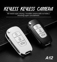 mini kamera tuşu toptan satış-HD 1920 * 1080 P Mini Araba Anahtarı Kamera Yok delik Metal vücut araba Anahtar-zinciri Süper MINI DV DVR Taşınabilir ev Güvenlik Kamera A12