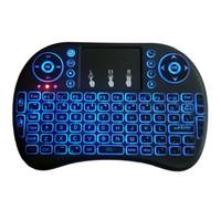 teclado de proyección de iphone al por mayor-Air Mouse En Control Remoto I8 Retroiluminado 2.4G Mini Teclado Inalámbrico Con Touchpad para Mini PC Smart TV Box Laptop DHL Envío Rápido