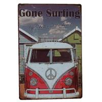 Wholesale surfing decor for sale - Group buy Gone Surfing Vintage Metal Signs Home Decor Cafe Bar Decoration Pub Decorative Metal Wall Art Plates Tin Sign Retro x30cm