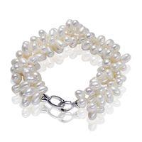 подлинный пресноводный жемчуг стерлингового серебра оптовых-Genuine Pearl  Best Natural Freshwater Pearl Bracelet 100% 925 Sterling Silver Clasp Trendy Bangle For Women Free Shipping
