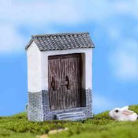 ingrosso mattone di pianta-Brick Tile House Door Aperto chiuso Moss Terrarium Micro Landscape Decoration Carnosa Pianta in vaso Materiale fai da te Fairy Garden Ornament Craft