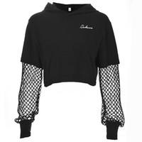 broderie ajourée achat en gros de-T-shirt à capuche pour les femmes nouvelle maille ajourée lettres broderie sexy T-shirt manteau court Sweat à capuche femme.