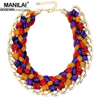 Wholesale Crochet Chain Necklace - whole saleMANILAI Handmade Knitting wool Crochet Chunky Necklace Women Statement Jewelry Big Chokers Maxi Collar Necklaces Jewelry