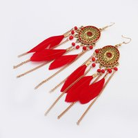 Wholesale wholesale white feather accessories for sale - Women Ethnic Long Feather Tassel Earrings Round Pendant Earring Indian Accessories Beads Party Earring
