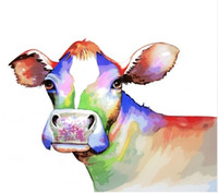 Wholesale framed wall art paintings online - Modern Abstract Animal Cow Handpainted HD Printed oil painting On Canvas Home Decor Wall Art Multi Sizes Frame Options a71