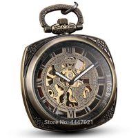 square men mechanical watches 2018 - Men Square Mechanical Pocket Watch Chains Mens Retro Skeleton Hand Winding Steampunk Fob Watches for Man Women Reloj De Bolsillo