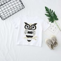Wholesale owl clothing boy online - kids clothing girl boy Kids Cotton Short Sleeve paillette owl Heart shape T shirt boys causal summer t shirt