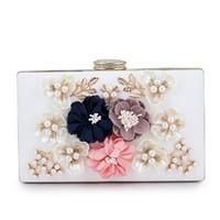 ingrosso borse di fiori 3d-Appliques Pattern 3D Fiori Crossbody Shoulder Bag Borse da pranzo a mano Borse da sera a mano Portamonete Box con catena (c1995)