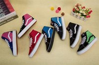 Wholesale ocean kids - 2018 infant Vans Classic Retro Kids Shoes Sk8-hi High Top Casual Boys Girls Canvas Old Skool Black White Red Casual Sports Sneakers 26-35