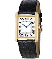 relógios unisex de quartzo preto venda por atacado-Luxo W5200004 Quartzo Solo Prata Ouro Amarelo Preto De Couro Unisex Aço Inoxidável Assista 34x27mm de Alta Qualidade com caixa