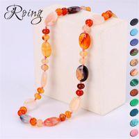 doğa taşları toptan satış-Roing Mutil Renk Doğa Taş Kolye Bohemian Boncuk Kolye Takı Enerji Mücevher Nefis Doğum Günü Yıldönümü Hediye N067-N080