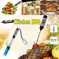 Wholesale bbq digital meat probe resale online - Electronic Food Thermometer Black Digital Food Probe BBQ Food Grade Sensor Meat Thermometer Portable Cooking Kitchen Tools AAA431