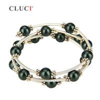 Wholesale pearl bracelets resale online - CLUCI vintage black shell pearls wire wrap bracelet adjustable silver plated bracelet jewelry Women Bead Charm Bracelet Jewelry S18101507