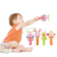 Wholesale baby grips - 4 Styles Baby Hand Grip Rod Toys Educational Toys Rattle Animal BB Stick Hand Bell Toy For 0-3 years old baby C2043