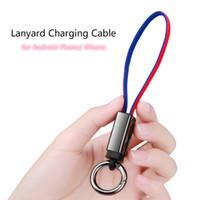 iphone cabo vermelho venda por atacado-Chaveiro cordão cabo de carregamento para iphone android phone 2 em 1 carregador iphone x xs 7 8 plus data linha azul cor vermelha