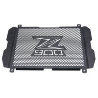 Wholesale radiator guards online - For Kawasaki Z900 Black Motorcycle Radiator Guard Gloss Stainless Steel Grille Bezel Radiator Net Protective Cover