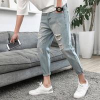 ingrosso maschio legato-Jeans maschili maschili Disegni New Pattern Coreano Estate Nove Fori parte Auto-coltivazione Bound Piedi Pantaloni Youth Concise Tempo libero