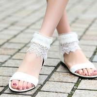 Wholesale white wedding low heel sandal - Wedding Shoes for Bride White Lace Open-toed Sandals Women Shoes Head Roman Ladies Sandals Girls Shoes